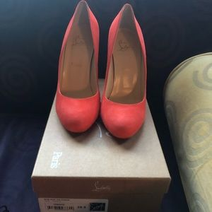 New Louboutin Ron Ron heels -coral